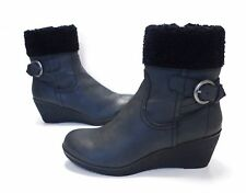 Ladies Debenhams Mantaray CHARCOAL Black ankle Wedge Heel Boots Size 4 Great