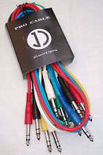 6 PACK of 1m J/J stereo patch leads, TRS 6.35mm jack,  IC017-1M *NEW*