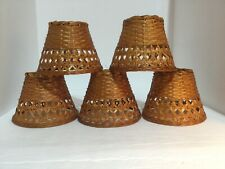 """Awesome LOT OF 5 MATCHING WICKER Mini Chandelier Lamp Shades 4.25"""" Height"""
