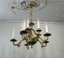 Antique Vintage Bronze 10 Light Two Tier Ornate Chandelier Fixture  Spain