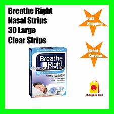 Breathe Right Nasal Strip Clear 30 Large Strips Pack Nose ebargainClub