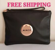FREE POST MIMCO LOVELY MEDIUM POUCH MATTE BLACK ROSE GOLD SHEEPSKIN RRP99.95