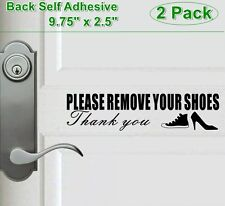 """2pc 9.75"""" X 2.5"""" PLEASE REMOVE YOUR SHOES Back Self Adhesive Clear Vinyl Sticker"""