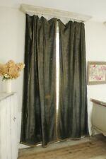 Curtains Set Antique French Chenille c1850 RICH warm greenish blue Fabric