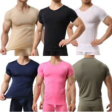 Men's Smooth Gym Sport T-shirt Fitness Muscle Stretch Soft Tee Tops Clothes S-XL