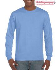 Magliette da uomo a manica lunga blu Gildan