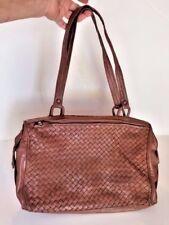 Brown leather Bottega Veneta in signature Intrecciato pattern leather weave