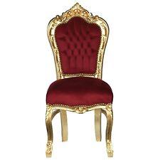 Polsterstuhl Barock Esszimmerstuhl Stoff Rot Bordeaux Gold Massivholz Jugendstil