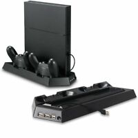Dual USB Cooling Fan Cooler Charging Dock Station Vertical Stand For PS4 Console