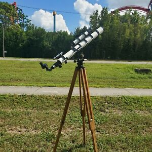 Rare Vintage Unitron Telescope  With Lenses Stand And Box