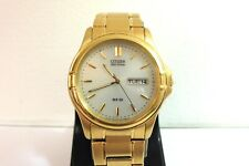 MINT UNUSED NEW OLD STOCK GENTS GOLD PLATED CITIZEN ECO-DRIVE WR50 DAY DATE