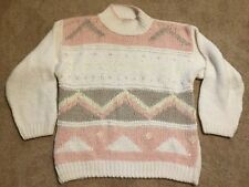 Victoria Jones Petite Medium Long Sleeve Chunky Knit Sweater White Pink Tan Flaw