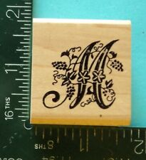 Botanical Letter M Rubber Stamp by Embossing Arts Ivy Initial Monogram