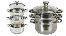 3 Tier Stainless Steel Steamer Set 24cm Steam Cooker 4Pcs Kitchen Pots Glass Lid