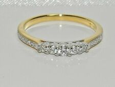 9ct Yellow Gold on Silver Diamond 5 Stone Eternity Ring - ALL SIZES AVAILABLE