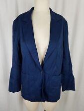 Vintage LL Bean Navy Blue Single Button Up Boyfriend Blazer Jacket Womens 4 USA