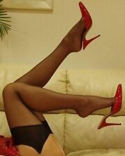 Leg Avenue Sheer Stockings Elasticated Top 100 Nylons One Size Black 1 Pair