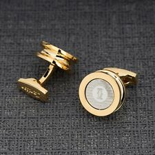 CARTIER Cufflinks Yellow gold Men's jewelry Round heavy and Thick