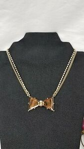 VTG BETSEY JOHNSON ICONIC BROWN GLASS AB RHINESTONE BOW CHOKER NECKLACE RARE.  7