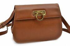 Authentic Ferragamo Gancini Leather Shoulder Bag Beige 91422