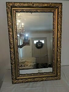 Antique Victorian Wall Mirror Ornate Gilded Gilt Gesso Wood Frame Free Shipping