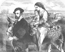 FAMILY. Spanish landscape & figures, antique print, 1853