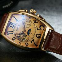 Leather Wrist Watch Gift Men Luxury Stainless Steel Self-wind Mechanical Watch