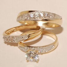 14K Yellow Gold Over Round Cut Diamond His Her Engagement Trio Wedding Ring Set