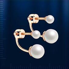 Russische Rose Rotgold 585 Ohrstecker mit Perlen. Neu. Earrings rose gold!