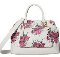 Luv  Betsey Johnson Crossbody Dual handle Floral Pink Satchel  Handbag  Purse