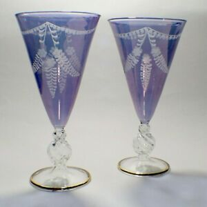 Vintage Art Deco Etched Neodymium (Alexandrite) Crystal Purple Goblet Glasses