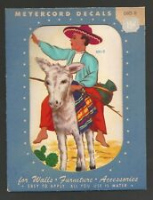 Vintage 1940's Meyercord Decal - Old Mexico Theme Donkey & Rider With Sombrero