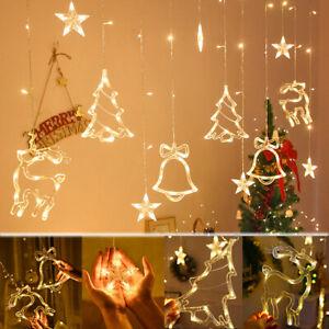 Christmas Tree Curtain Window Hanging Fairy Lights String Xmas Indoor Decoration