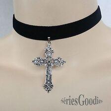 tour de cou Victorien Celtique Gothique Mariage croix sur ruban velours noir