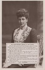 POSTCARD ROYALTY Queen Alexandra  Message