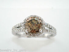 1.36 CARAT FANCY CHAMPAGNE BROWN DIAMOND ENGAGEMENT RING 14K WHITE GOLD HALO