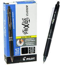 Pilot Frixion Ball Clicker 07 Retractable Erasable Black Ink Gel Pen Box Of 12