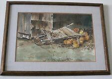 JAMES FERIOLA -  Original Watercolor Cart with Pumpkin fall framed art signed