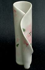 Hilborn Canada Bud Table Vase Curl 6in Pink Rose Greenery Art Pottery Signed
