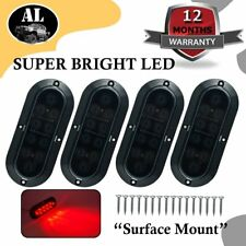 """4X 10LED 6"""" Red Smoked Lens Oval Surface Mount Stop Tail Light Car Truck Trailer"""