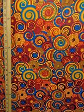 ORANGE RED MULTICOLOR African Wax Print 100% Cotton Fabric (44 in.) Sold BTY
