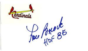 "Lou Brock Autographed Signed 3x5 Index Card St. Louis Cardinals ""HOF 85"" 106096"
