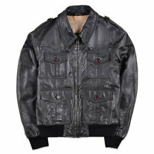 Nickelson Herren Jacke Jacket Gr.L (wie M) Lederjacke Leder Dunkel Grün, 57384