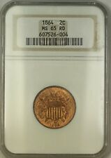 1864 Two Cent Piece 2c Coin ANACS MS-65 Red GEM BU