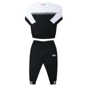 Adidas Infants Tracksuit Kids Jogger Full Set Sweatshirt Crew Neck Black/White