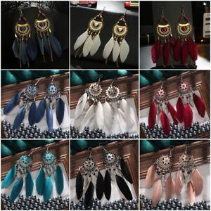 Long Feather Leaf Bead Tassel Earrings Boho Water Drop Dangle Ear Hook Jewellery