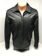 Vtg CHAPS Black Leather Jacket Classic Soft & Supple Plaid Lined Size M