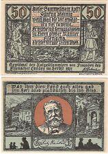 Germany 50 Pfennig 192 Eisenach Notgeld UNC RARE SERIES Banknote - Brown