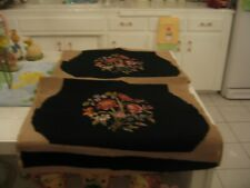 Beautiful Vintage Pair Of Needlepoint Chair Covers Black With Floral
