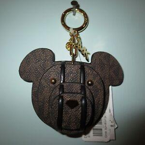 MICHAEL KORS SIGNATURE BROWN BLACK LOGO 3D BEAR KEY RING CHARM -$68+